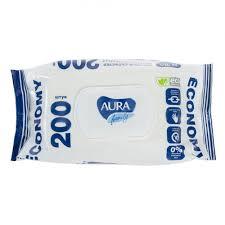 <b>Влажные салфетки AURA</b> для всей семьи (с крышкой), 200 штук ...