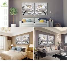 <b>3D</b> Lotus White Flower Canvas Print Poster <b>Modular Pictures</b> ...