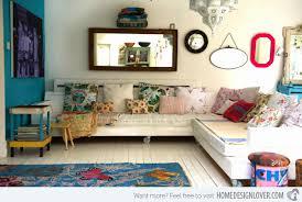 white sofa bohemian style living room