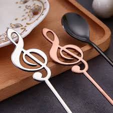 5Pack Lomire <b>Stainless Steel</b> Musical Note Shape Spoon <b>Dessert</b> ...
