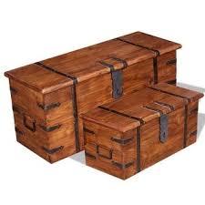 Shop vidaXL <b>2 Piece Storage Chest</b> Set Solid Wood - Overstock ...