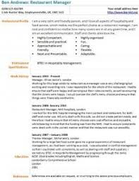 restaurant manager cv example   learnist org