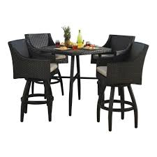 wicker bar height dining table: deco  piece all weather wicker patio bar height dining set with slate