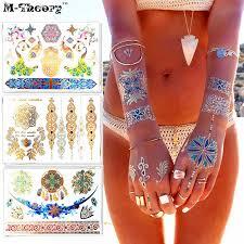 Online Shop 18 <b>pics Henna Party</b> Tattoo Stencils DIY Jagua ...