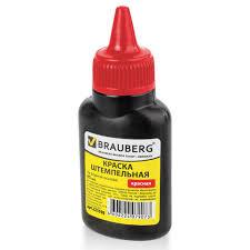 <b>Краска штемпельная BRAUBERG</b>, красная, 45 мл, на водной ...