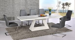extendable dining table set: white high gloss extending dining table and grey chairs set julian miles