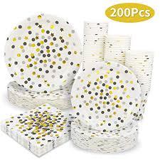 Black and Gold Dot Party Supplies - 200PCS ... - Amazon.com