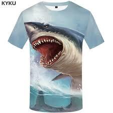 AMD 2,669.73 49% Off | <b>KYKU Shark</b> T Shirt Men Sea Tshirt Punk ...