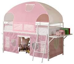 girls white metal pink tent twin bunk loft bed w shelf low safe play bunkbed children bunk beds safety