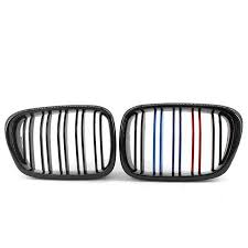 Gloss Black <b>Double</b> Line M-<b>color</b> Front Kidney Grilles for <b>BMW</b> 5 ...