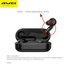 AWEI <b>TWS Bluetooth V5</b>.0 True Wireless Charging Earbuds With ...