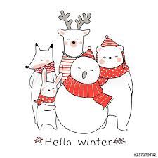 Draw cute animal <b>rabbit bear deer</b> fox for Christmas. - Buy this stock ...