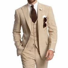 Fashionable Mens <b>3 Pieces</b> Tan Khaki Tailored Slim Fit Tuxedo ...