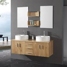 bathroom modern vanity designs double curvy set: fascinating dark finish cherry wood floating bathroom vanity with white rectangle ceramic vessel sink integrated curved