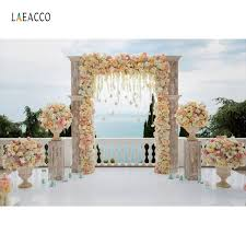 Laeacco Wedding Stage Flowers Wreath Door Stage <b>Romantic</b> ...