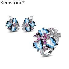 Kemstone <b>Fashion Copper Enamel</b> 3 Butterflies Cubic Zirconia ...