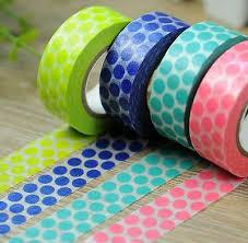Big Dots Print <b>Washi</b> tape Green Pear Royal Blue Aqua Coral Pink ...