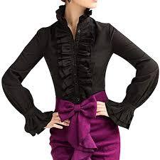 Loralie Women Vintage Victorian Button Down <b>Trumpet</b> Sleeve Tops ...