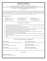 funeral director resume funeral resume cover letter gallery of director sample resume
