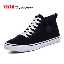 Fashion Sneakers Men <b>Canvas Shoes High</b> top Male Brand ...