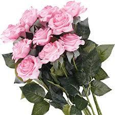 Pauwer 12PCS <b>Moisturizing</b> Real Touch <b>Artificial Rose Flower</b>