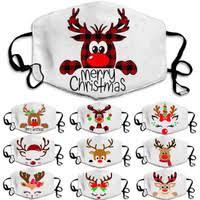 <b>Christmas Theme</b> Breathable Dustproof Cotton Cloth Mask Adult ...