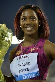Shelly-Ann Fraser-Pryce after winning the 100m at the 2014 IAAF Diamond League in Doha - 05f8a387-2726-40a8-8652-09e80caf417b
