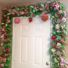 mesh christmas front door swag holiday red