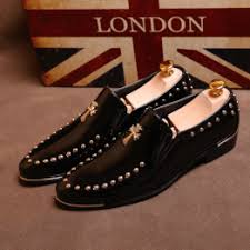 Men's Fashion Pointed Studded Shoes Leather Loafers ... - Vova