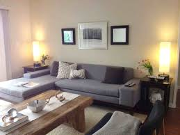 living room ideas grey small interior: fashionable small living room arrangement decorating ideas headlining comfortable grey fabric sectional sofa and reclaimed wood