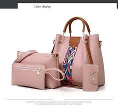 Buy <b>4pcs</b>/Set Women Handbag <b>Free Shipping</b> Color Strip Casual ...