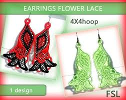 <b>Lace</b> earrings flower No.207 FSL 4x4hoop <b>Machine</b> | Etsy
