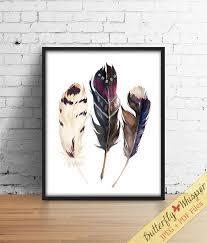 Boho printable <b>watercolor feathers wall art</b> print, Hippie wall art print ...