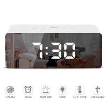 <b>LED Mirror Alarm Clock</b> Digital Snooze Table Clock Wake Up Light ...
