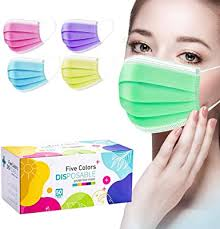 Multicolor Masks Disposable Women Pink Colors ... - Amazon.com