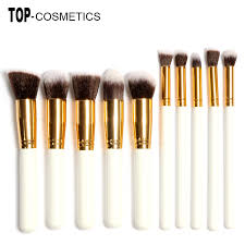 10pcs professional makeup brushes set beauty make up brush kits milk white gold handles beaute basics bh cosmetics eco