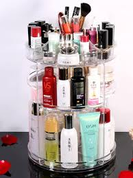 Buy <b>Desk Cosmetics</b> Storage <b>Box</b> Brief Design Transparent Rotary ...