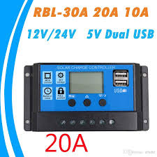 <b>30A</b>/<b>20A</b>/<b>10A 12V 24V Auto</b> Work PWM Solar Charge Controller ...