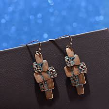 Women's Bohemian <b>Copper Carved</b> Retro Geometric Gypsy Drop ...