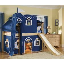 pink tents castle adorable brown smooth sanded oak loft beds with slide and attractive blue tent castle beauteous pink blue