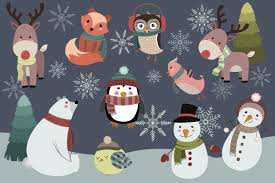 Image result for winter animals clipart black and white