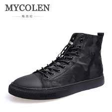 mycolen brand waterproof motorcycle boots men lace up winter shoes handmade plush comfort footwear leather mens casual
