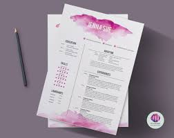 pink resume template cv template cover letter template reference letter template pink watercolor theme 1 page resume creative cv