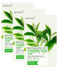 Набор: <b>Маска тканевая с экстрактом</b> зеленого чая, 22мл, 3 шт ...