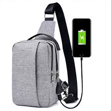 Waterproof Canvas <b>Chest Pack</b> USB Charging <b>Men</b> Shoulder Sling ...