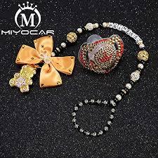 MIYOCAR custom name bling heart pacifier clip ... - Amazon.com