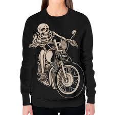 Заказать свитшот женский с полной запечаткой <b>Skeleton Biker</b> ...