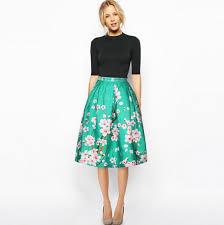 <b>2017</b> Summer <b>Women Vintage Retro</b> Satin Floral Pleated Skirts ...