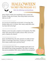 2nd Grade Halloween Word Problem Worksheets | Education.comHalloween Word Problems