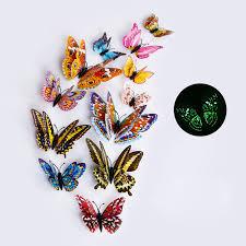 <b>12pcs</b>/<b>set</b> Multicolor <b>Luminous</b> 3D Butterfly Wall Stickers Magnet ...